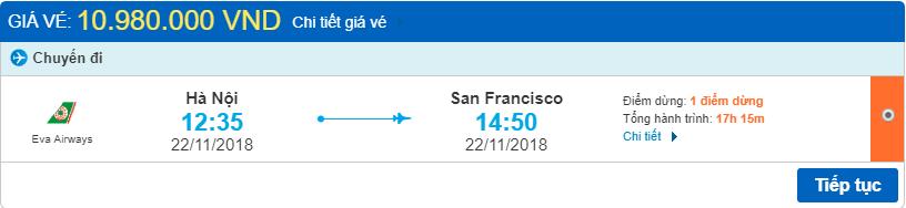 Giá vé máy bay từ Hà Nội đi San Francisco