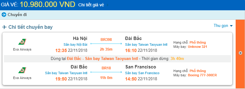 Giá vé máy bay Hà Nội đi San Francisco chi tiết