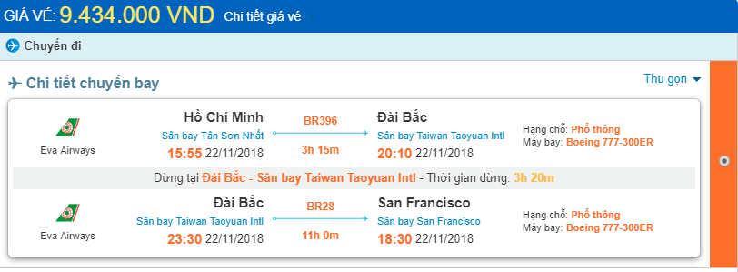 Giá vé máy bay từ TpHCM đi San Francisco chi tiết