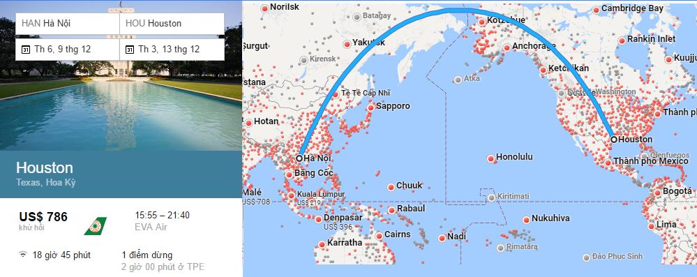 Bản đồ bay đi Houston, Texas từ Việt Nam